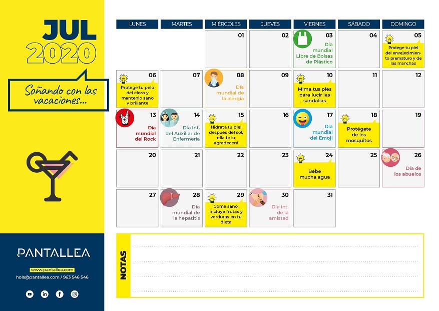 calendario contenidos julio farmacia